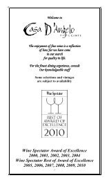 Selected Wines By The Glass - Casa D'Angelo