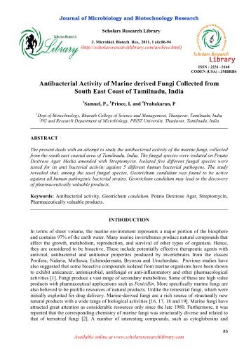 Antibacterial Activity of Marine derived Fungi Collected from South ...