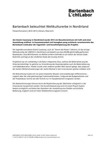 Bartenbach beleuchtet Weltkulturerbe in Nordirland