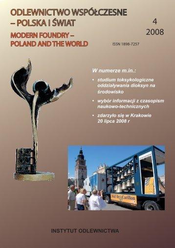 odlewnictwo współczesne – polska i świat 4 2008 - Instytut ...
