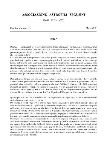 AAS CI 136 MARZO 2010 - Circolo AStrofili Talmassons