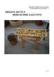 ORIGINE DETTI E MODI DI DIRE SALENTINI - Oleariasannicolese.It