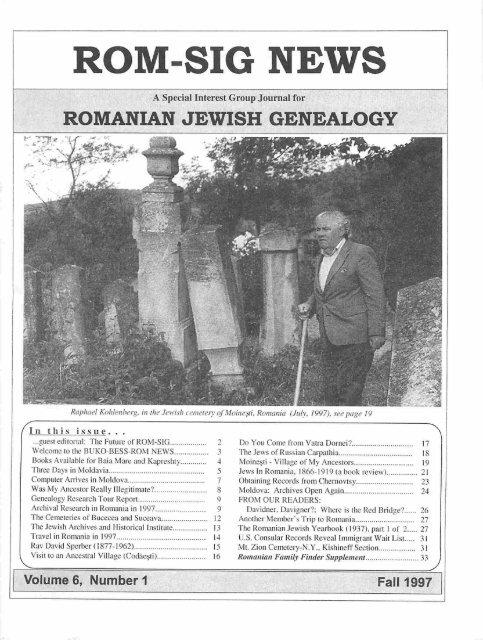 ROM-SIG NEWS - JewishGen