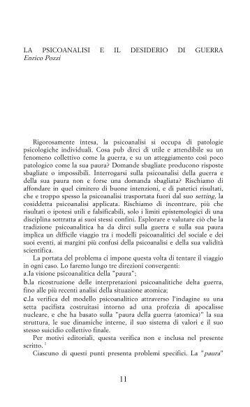 LA PSICOANALISI E IL DESIDERIO DI GUERRA - Enrico Pozzi