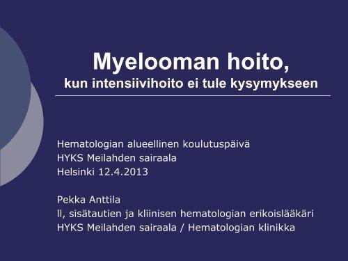 Pekka Anttila, Myelooman hoito