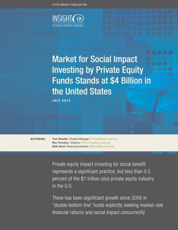 Market for Social Impact Investing by Private Equity Funds Stands at ...