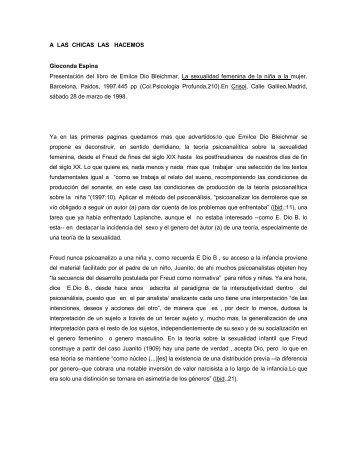 A LAS CHICAS LAS HACEMOS Gioconda Espina Presentación del ...