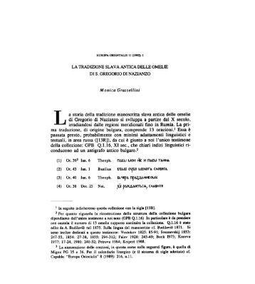 1- a storia della tradizione manoscritta slava ... - Europa Orientalis