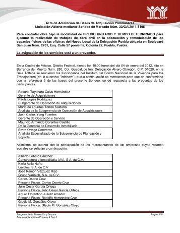 Acta de Aclaración de Bases de Adquisición Preliminares ... - Infonavit