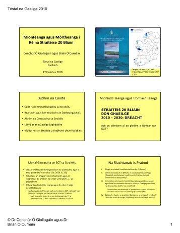 Mionteanga agus Mórtheanga i Ré na Straitéise 20 Bliain - Tóstal na ...