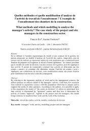 Quelles méthodes et quelle modélisation d'analyse de l'activité de ...