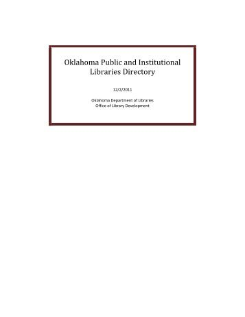 Directory of Public Libraries in Oklahoma (pdf)