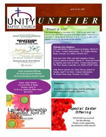 U  N  I  F  I  E  R - Unity Baptist Church