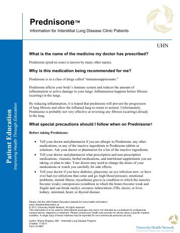 Prednisone - the University Health Network
