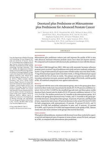 Docetaxel plus Prednisone or Mitoxantrone plus Prednisone for ...