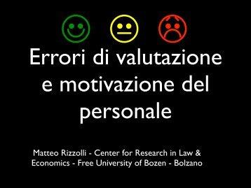 Errori di valutazione e motivazione del personale; Dott. Rizzolli