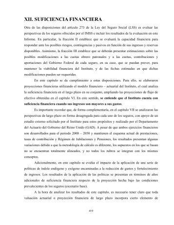 XII. SUFICIENCIA FINANCIERA - IMSS