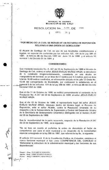 """RESOLUCIÓN NO.._M_{*:Ü9"""" DE 2000 - Alcaldía de Santiago de Cali"""