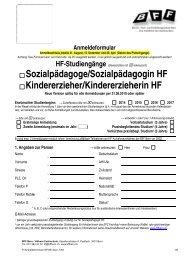 Anmeldeformular - BFF Bern