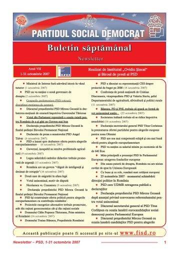 Newsletter octombrie - Institutul Social Democrat Ovidiu Sincai