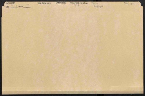 POLITICAL FILE Box Folder CAMPAIGNS VICE-PRESIDENTIAL PP ...
