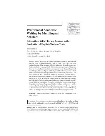 Professional Academic Writing by Multilingual Scholars