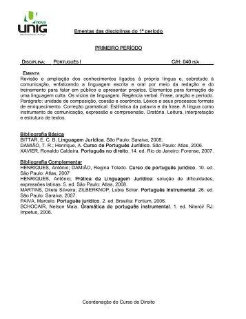 Coordenação do Curso de Direito Ementas das disciplinas ... - Unig