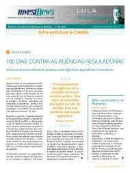 LULA - 100 DIAS DE GOVERNO - INFRA-ESTRUTURA