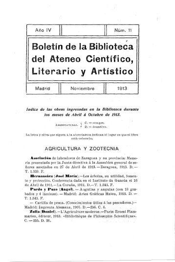 Boletín de laBibl del Ateneo Cien Literario y Ari ... - Ateneo de Madrid