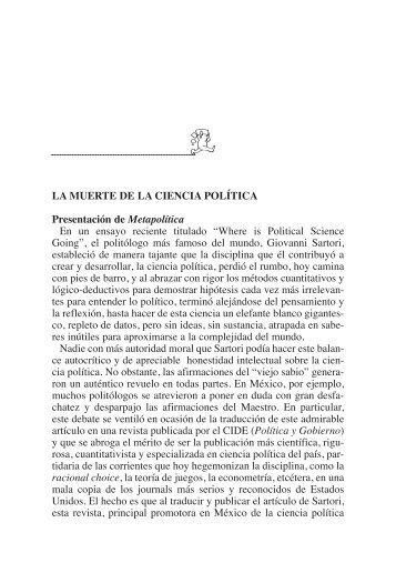 LA MUERTE DE LA CIENCIA POLÍTICA Presentación de ...