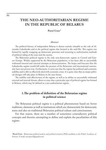 the neo-authoritarian regime in the republic of belarus