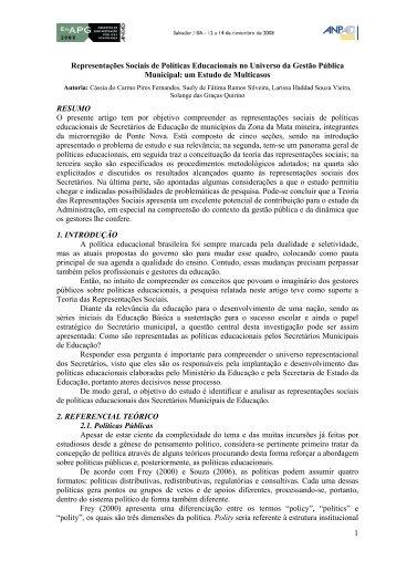 1 Representações Sociais de Políticas Educacionais no ... - Anpad