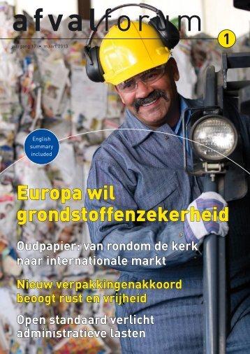 Europa wil grondstoffenzekerheid - Vereniging Afvalbedrijven