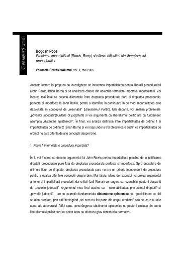 Bogdan Popa Problema impartialitatii (Rawls, Barry) si ... - Civitas '99