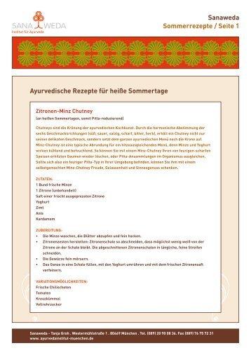 Sanaweda Sommerrezepte / Seite 1 Ayurvedische Rezepte für ...