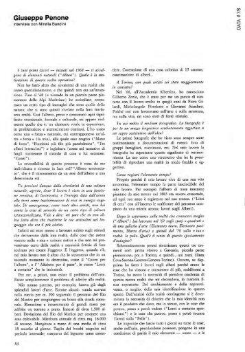"""Giuseppe Penone: """"Intervista"""" di Mirella Bandini, DATA # 7 ... - artslab"""