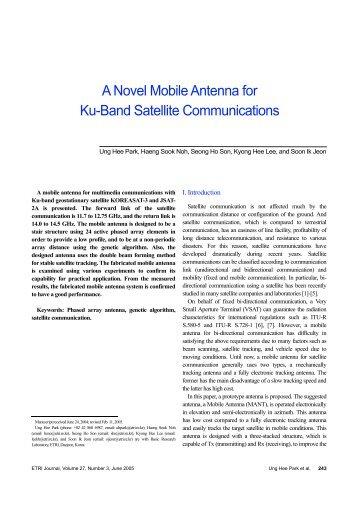 A Novel Mobile Antenna for Ku-Band Satellite ... - ETRI Journal