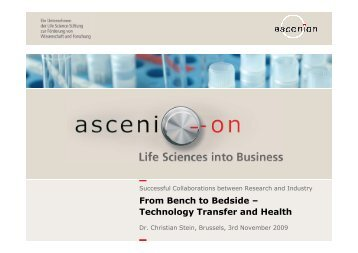 From Bench to Bedside – Technology Transfer and Health
