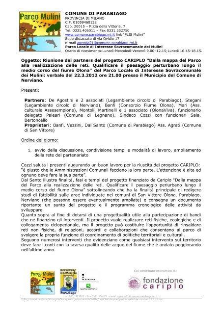 Verbale della riunione - Ecomuseo e Agenda 21 Parabiago