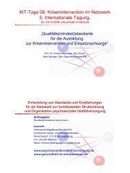 KIT-Tage 06: Krisenintervention im Netzwerk 5. Internationale Tagung,