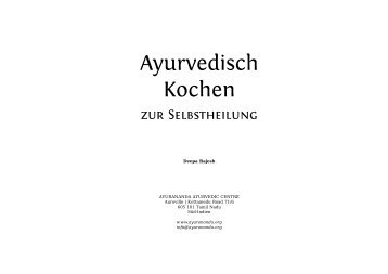 Ayurvedisch Kochen - Ayurananda Ayurvedic Centre