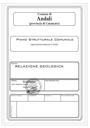Relazione geologica preliminare - Regione Calabria