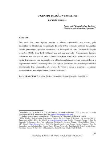 O GRANDE DRAGÃO VERMELHO - Psicanálise & Barroco