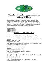 Trabalhos selecionados para apresentação em pôster no 18° ECAM