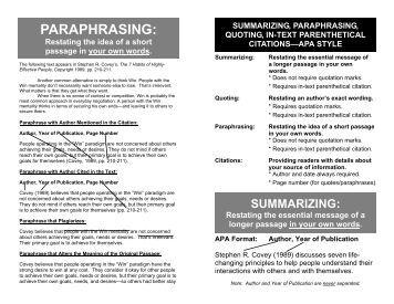 Summarizing paraphrasing and quoting