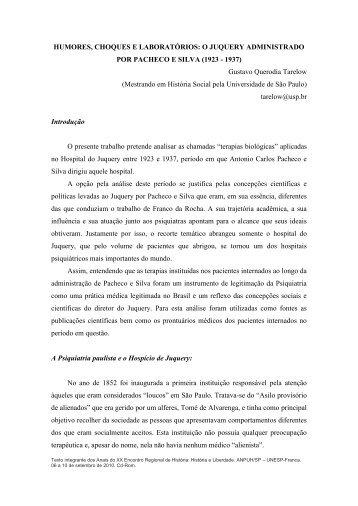 O Juquery administrado por Pacheco e Silva - ANPUH-SP