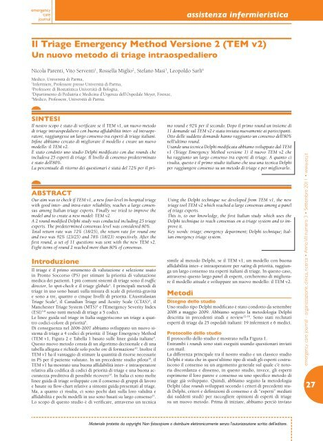 27 Il Triage Emergency Method Versione 2 (TEM v2) - Acemc.It
