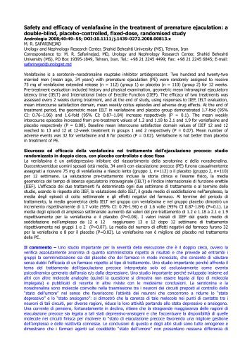 Sicurezza ed efficacia della venlafaxina nel ... - Andrologia Online