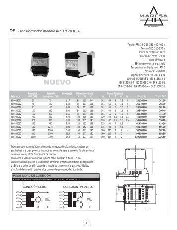 Transformador monofásico TR 28 IP20 - Maresa