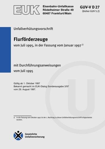 GUV-V D 27 - Regelwerk des Bundesverbandes der Unfallkassen